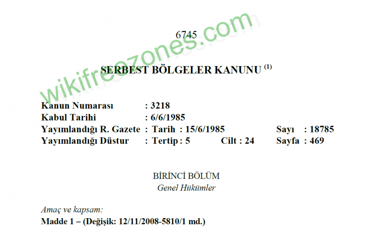 سند: قانون مناطق آزاد ترکیه