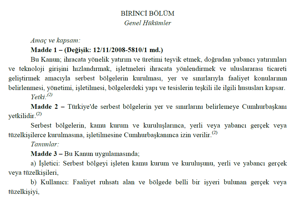 قانون منطقه آزاد ترکیه با زبان ترکی