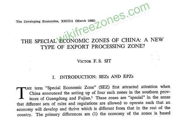 سند: مناطق ویژه اقتصادی در چین: نوعی جدید از مناطق پردازش صادرات؟