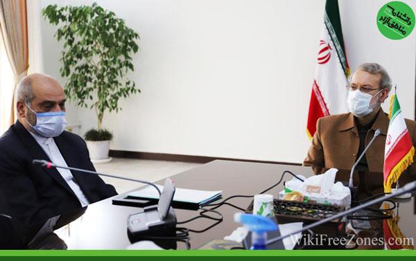 در دیدار مونی و لاریجانی مطرح شد: لزوم افزایش سهم مناطق آزاد در سند همکاری ۲۵ ساله ایران و چین